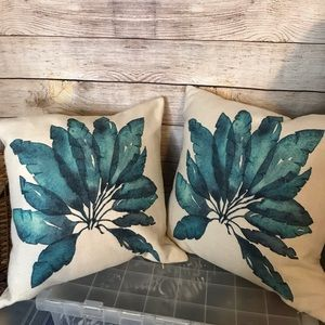 Blue Watercolor Leaf Pillow and Pillow Covers